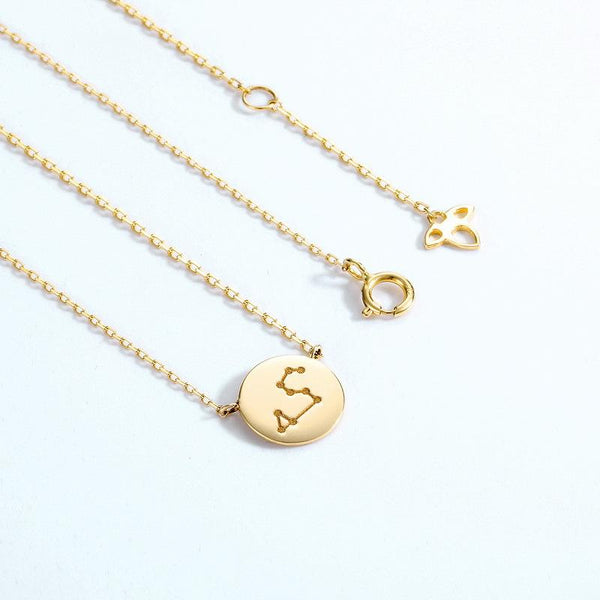 Aquarius Pendant Zodiac Dainty Necklace in 14K Gold Factory Wholesale R2N3G11053