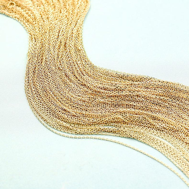 Dainty Cable Chain Tiny Necklace in 9K Gold Factory Wholesale R2N3G11061