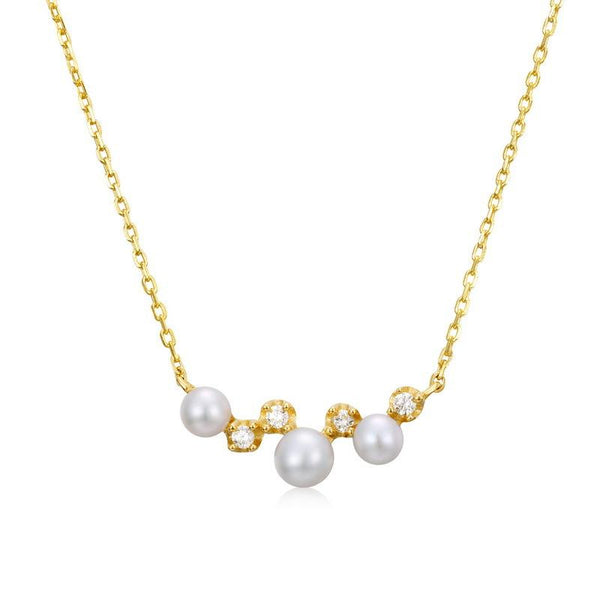 3 Stone Freshwater Pearls Cubic Zirconia Accent Dainty Necklace in 14K Gold Factory Wholesale R2N3G11063