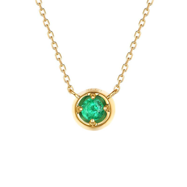 Natural Emerald Solitaire Delicate Pendant Dainty Necklace in 14K Gold Factory Wholesale R2N3G11069