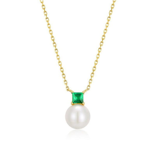 Natural Emerald On Freshwater Pearl Delicate Pendant Dainty Necklace in 14K Gold Factory Wholesale R2N3G11070