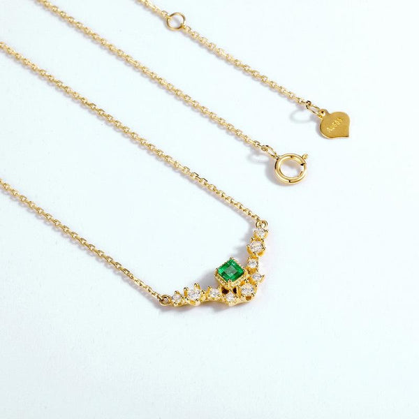 Natural Emerald Bouquet Cubic Zirconia Accent Delicate Pendant Dainty Necklace in 14K Gold Factory Wholesale R2N3G11071