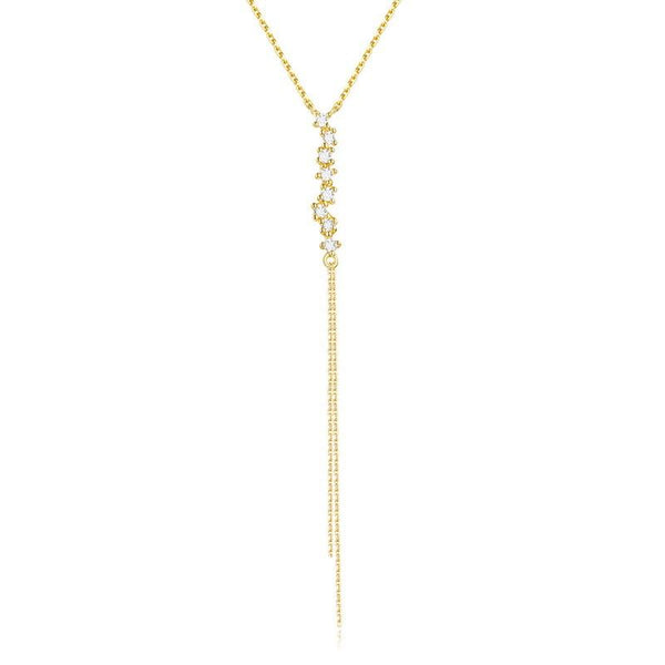 Cubic Zirconia Multi-Stone Tassel Delicate Dainty Necklace in 14K Gold Factory Wholesale R2N3G11072