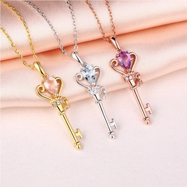 Natural Rose Crystal Cubic Zirconia Accent Key Pendant Delicate Dainty Necklace Charm in Sterling Silver (No Chain) Factory Wholesale R2N3S21001-1