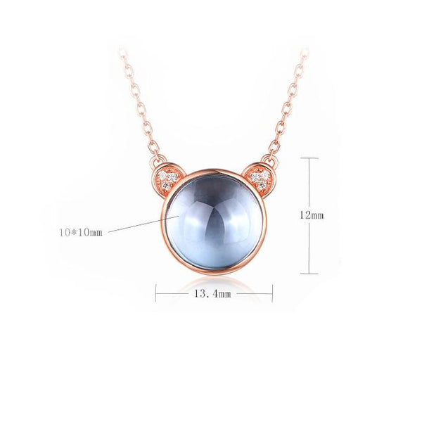Natural Rose Crystal Cubic Zirconia Accent Panda Pendant Dainty Mouse Necklace in Sterling Silver Factory Wholesale R2N3S21002-2