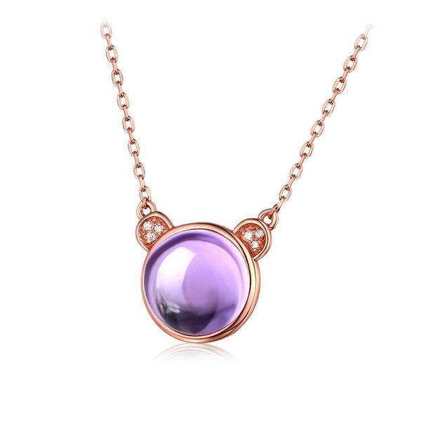 Natural Amethyst Cubic Zirconia Accent Panda Pendant Dainty Mouse Necklace in Sterling Silver Factory Wholesale R2N3S21002