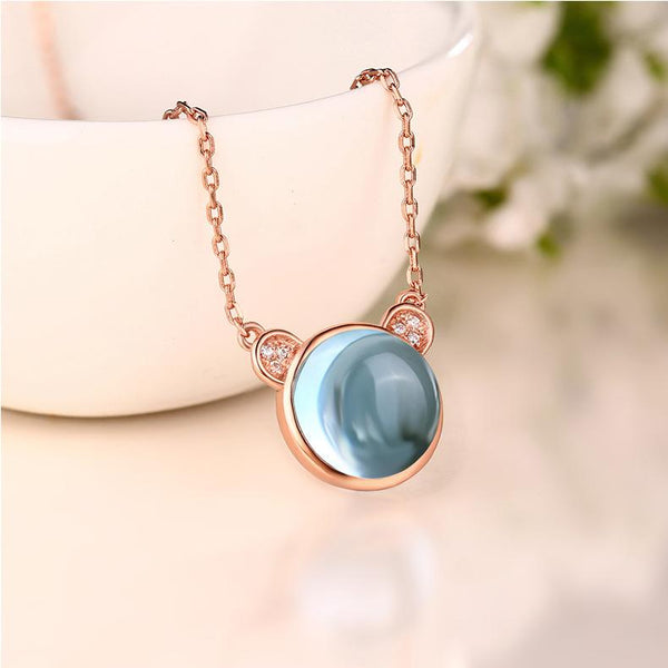 Natural Topaz Cubic Zirconia Accent Panda Pendant Dainty Mouse Necklace in Sterling Silver Factory Wholesale R2N3S21002-1