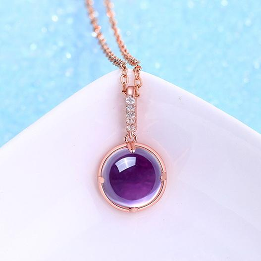 Natural Amethyst Cubic Zirconia Accent Pendant Dainty Necklace in Sterling Silver Factory Wholesale R2N3S21003