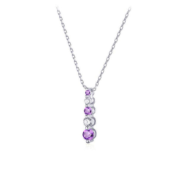 Natural Amethyst 5 Stone Cubic Zirconia Accent Pendant Dainty Necklace Charm in Sterling Silver (No Chain) Factory Wholesale R2N3S21004