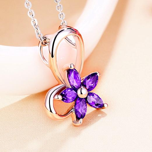 Natural Amethyst Butterfly Pendant Dainty Flower Necklace Charm in Sterling Silver (No Chain) Factory Wholesale R2N3S21009