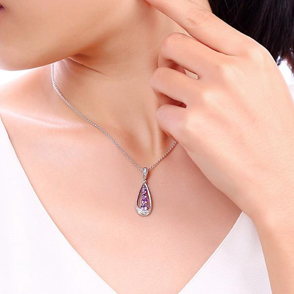 Natural Amethyst 5 Stone Teardrop Pendant Dainty Necklace Charm in Sterling Silver (No Chain) Factory Wholesale R2N3S21010