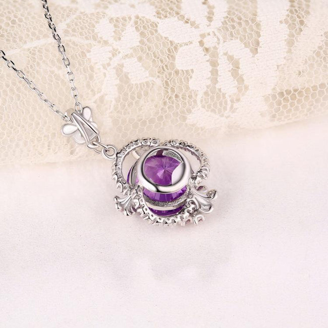 Natural Amethyst Flowers Halo Pendant Dainty Necklace Charm in Sterling Silver (No Chain) Factory Wholesale R2N3S21011