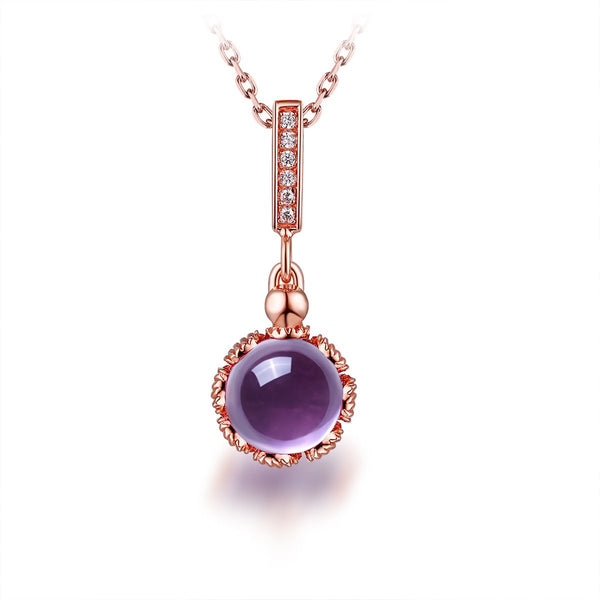 Natural Amethyst Floral Halo Dangling Pendant Dainty Necklace Charm in Sterling Silver (No Chain) Factory Wholesale R2N3S21012