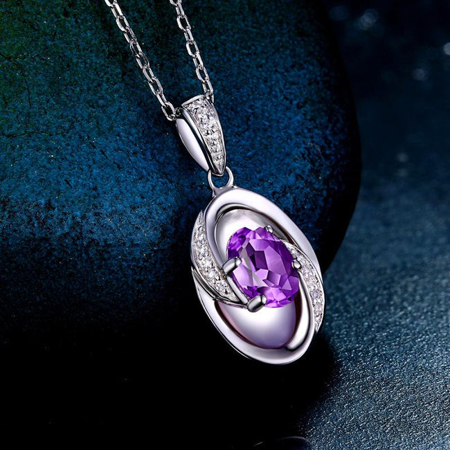 Genuine Amethyst Oval Infinity Pendant Dainty Necklace Charm in Sterling Silver (No Chain) Factory Wholesale R2N3S21013