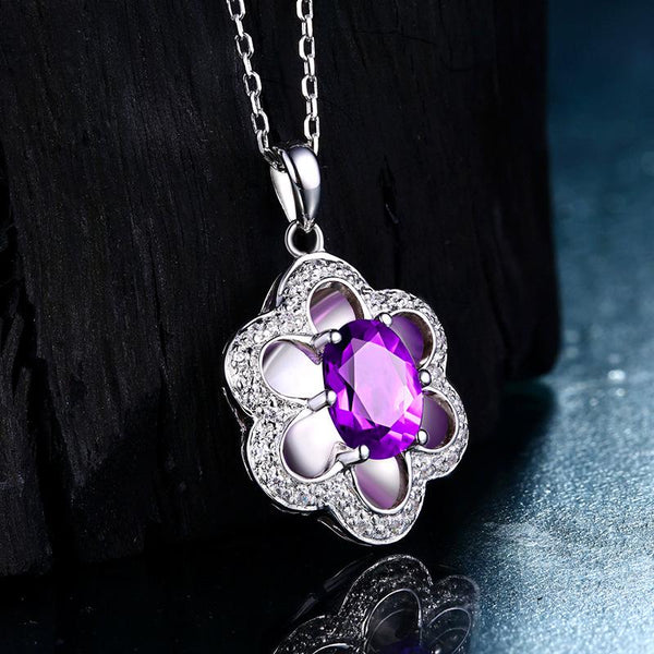 Genuine Amethyst Plum Flower Pendant Dainty Necklace Charm in Sterling Silver (No Chain) Factory Wholesale R2N3S21014