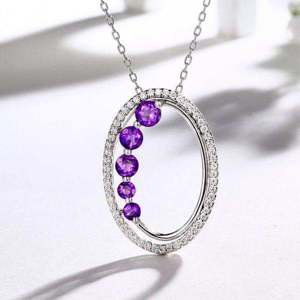 Authentic Amethyst Cubic Zirconia Accent Oval Halo Pendant Dainty Necklace Charm in Sterling Silver (No Chain) Factory Wholesale R2N3S21015
