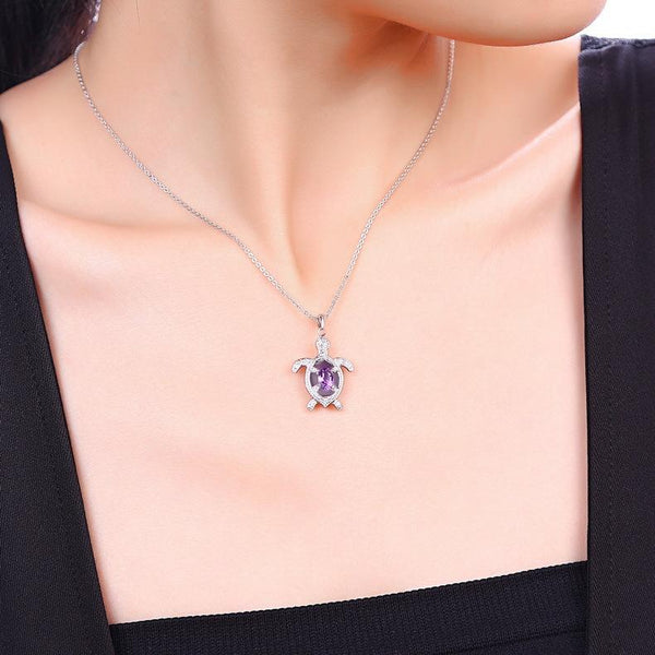 Real Amethyst Cubic Zirconia Accent Turtle Pendant Dainty Necklace Charm in Sterling Silver (No Chain) Factory Wholesale R2N3S21017
