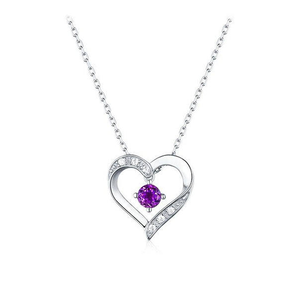 Real Amethyst Cubic Zirconia Accent Love Heart Pendant Dainty Necklace Charm in Sterling Silver (No Chain) Factory Wholesale R2N3S21018