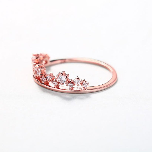 cubic zirconia floral engagement ring in 14k rose gold wholesale - Ables Mall