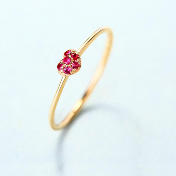 Ruby Accented Natural Gemstone Love Heart Ring in 14K Solid Gold - Ables Mall