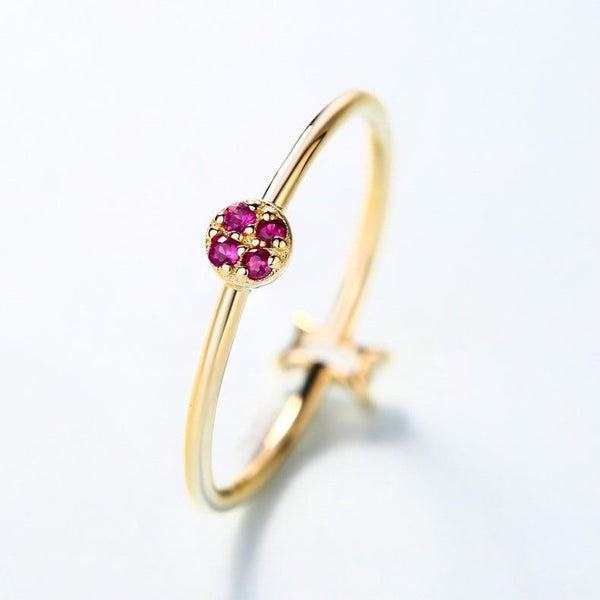 ruby gemstone flower cubic zirconia T-bar engagement ring in 14k yellow gold wholesale - Ables Mall