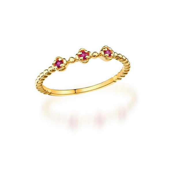 3 Stone Ruby Topaz Beaded Delicate Dainty Ring in 14K Gold Factory Wholesale R2N3G11072