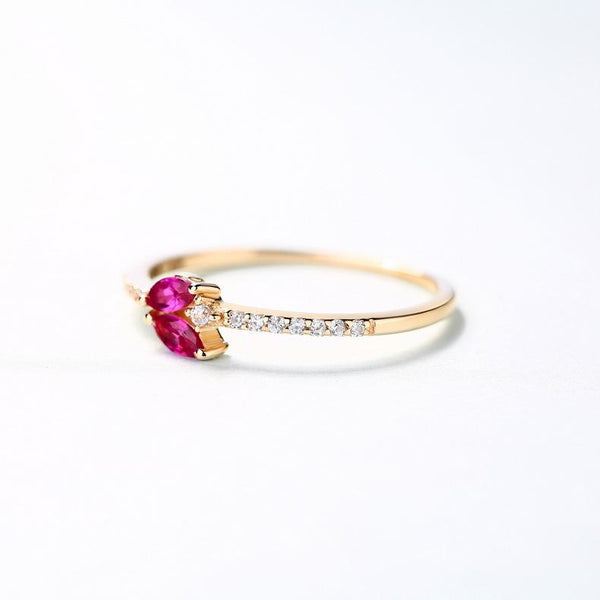 Marquise Simulated Ruby Leaf Bud Gemstone Engagement Ring in 14K Solid Gold Wedding Band - Ables Mall
