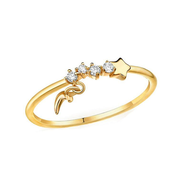 Solid 14K Gold Star Crescent Ring Cubic Zirconia Accented - Ables Mall