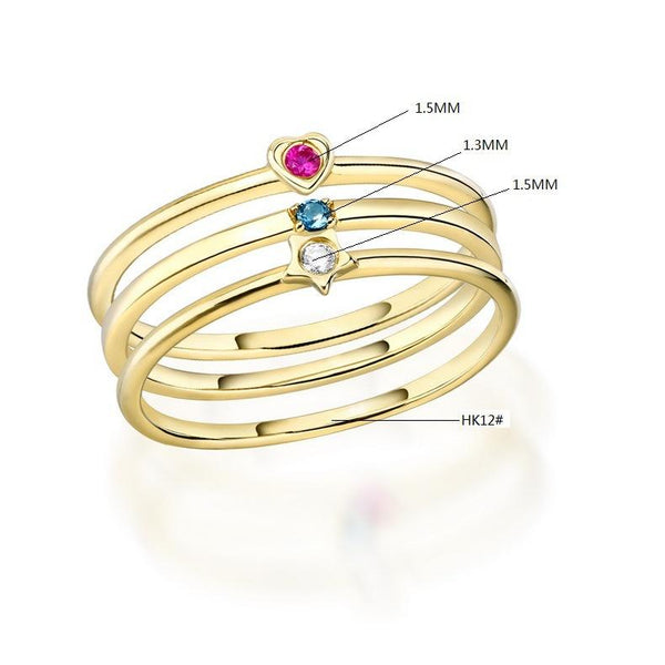 Stackable Solitaire Stone Ring Set in 14K Gold Ruby Heart Sapphire Star CZ Gemstone Bands - Ables Mall