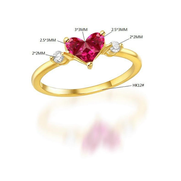 Simulated Gemstone Ruby Love Heart Engagement Ring Cubic Zirconia Accented 14K Solid Gold Wedding Rings - Ables Mall