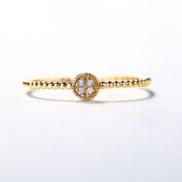 Ball Chain Style Shank Cubic Zirconia Paved Button Ring in 14K Gold Stackable Bands - Ables Mall
