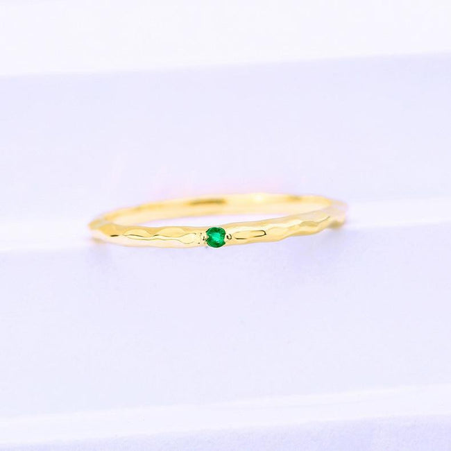 Solitaire Ruby Gemstone Ring in 14K Solid Gold Stackable Band - Ables Mall