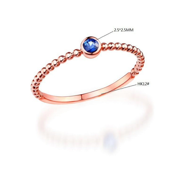 Round Blue Sapphire Solitaire Stackable Ring in 14K Gold - Ables Mall