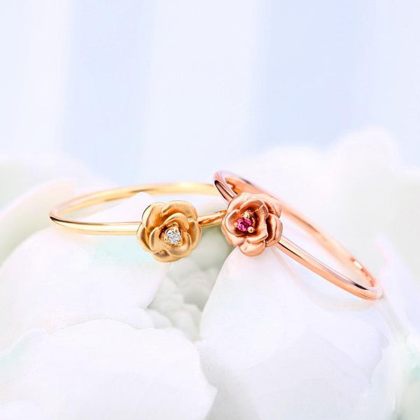 Tourmaline Gemstone Accented 14K Rose Gold Rose Flower Ring - Ables Mall