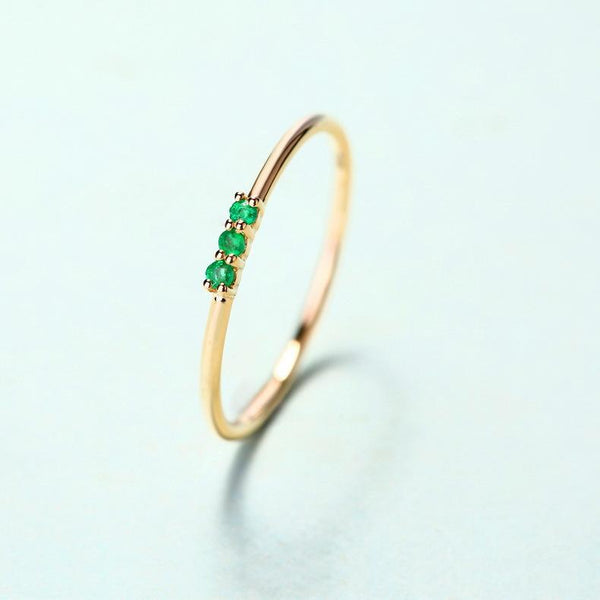 3 Stone Emerald Ring in 14K Gold Polished Classic Gemstone Stackable Band - Ables Mall