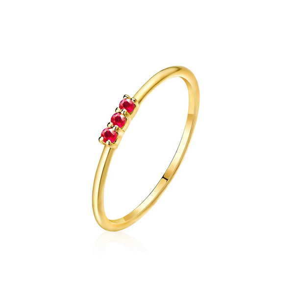 3 Stone Emerald Ruby Topaz Dainty Ring in 14K Gold Tiny Stackable Band