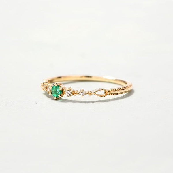 Natural Emerald And Cubic Zirconia Garland Delicate Dainty Ring in 14K Gold Factory Wholesale R2R1G11025