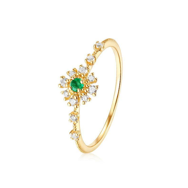 Emerald And Cubic Zirconia Delicate Flower Dainty Ring in 14K Gold Factory Wholesale R2R1G11028