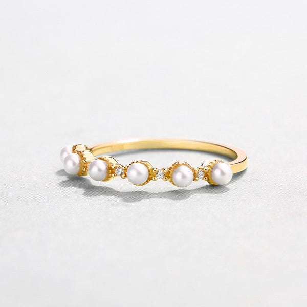 Freshwater Pearls 6 Stone Cubic Zirconia Accent Delicate Dainty Stack Ring in 14K Gold Factory Wholesale R2R1G11031