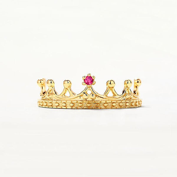 Natural Ruby Little Queen Crown Delicate Dainty Ring in 14K Gold Factory Wholesale R2R1G11032