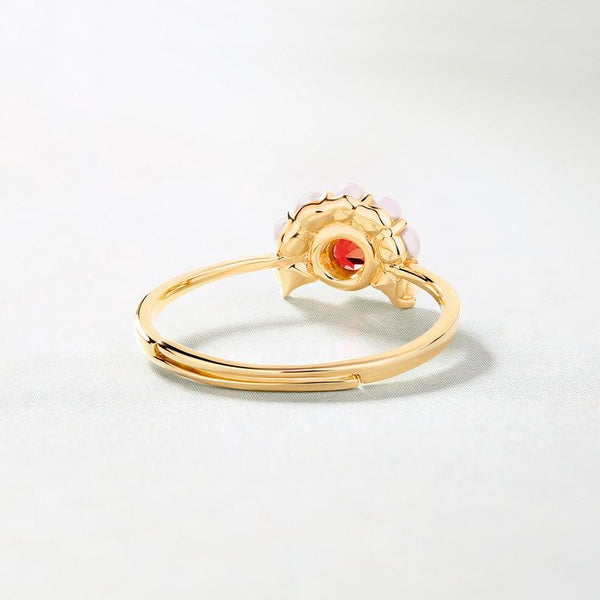 Natural Garnet Freshwater Pearls Dainty Ring in 14K Gold Factory Wholesale R2R1G11037