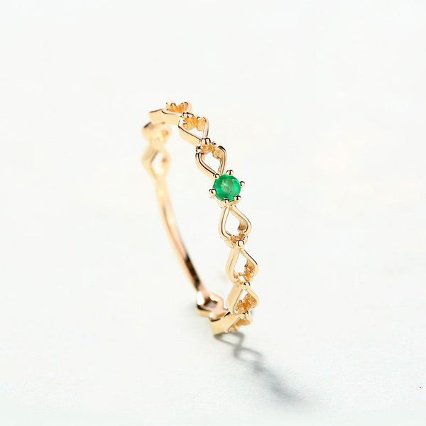Solitaire Emerald Love Hearts Dainty Stack Ring in 14K Gold Factory Wholesale R2R1G11038