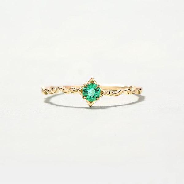 Solitaire Emerald Dainty Stack Ring in 14K Gold Factory Wholesale R2R1G11040