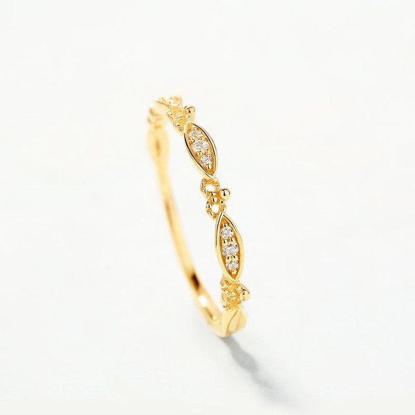 Cubic Zirconia Patterned Dainty Ring in 14K Gold Factory Wholesale R2R1G11042