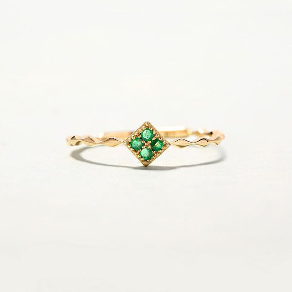Emerald Paved Square Dainty Ring in 14K Gold Factory Wholesale R2R1G11044