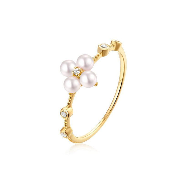 4 Stone Freshwater Pearls Cubic Zirconia Accent Delicate Floral Dainty Ring in 14K Gold Factory Wholesale R2R1G11045