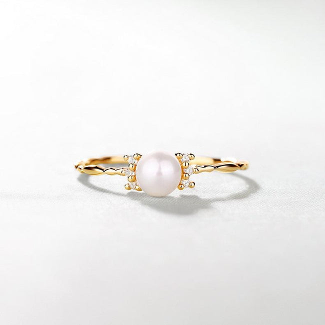 Solitaire Freshwater Pearl Cubic Zirconia Accent Dainty Ring in 14K Gold Factory Wholesale R2R1G11046