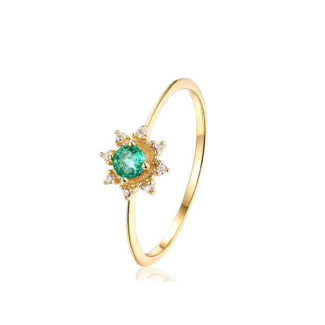 Emerald Center Cubic Zirconia Flower Dainty Ring in 14K Gold Factory Wholesale R2R1G11047