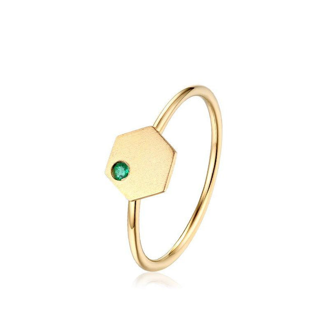 Emerald Accent Hexagon Beehive Dainty Ring in 14K Gold Factory Wholesale R2R1G11048