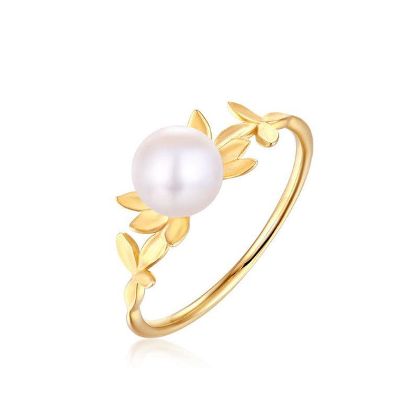 Solitaire Freshwater Pearl Tiny Bud Flower Dainty Ring in 14K Gold Factory Wholesale R2R1G11049